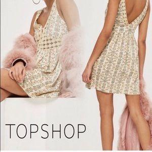 TopShop Floral Dress W/ Crochet Waist